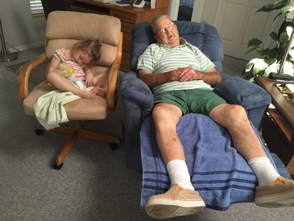 Ronald Perry, 85, with his great-granddaughter, Mya Dougherty, 2 1/2 -- taking their mid-afternoon nap together.