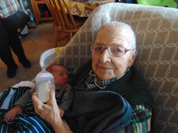 Susan, who passed away in February at 99, with her great-grandson, Jameson.