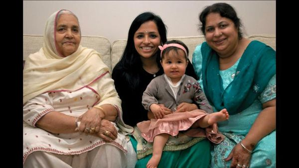 Swaran Kaur, 77, with her great-granddaughter, Maya Pedley, 18 months.