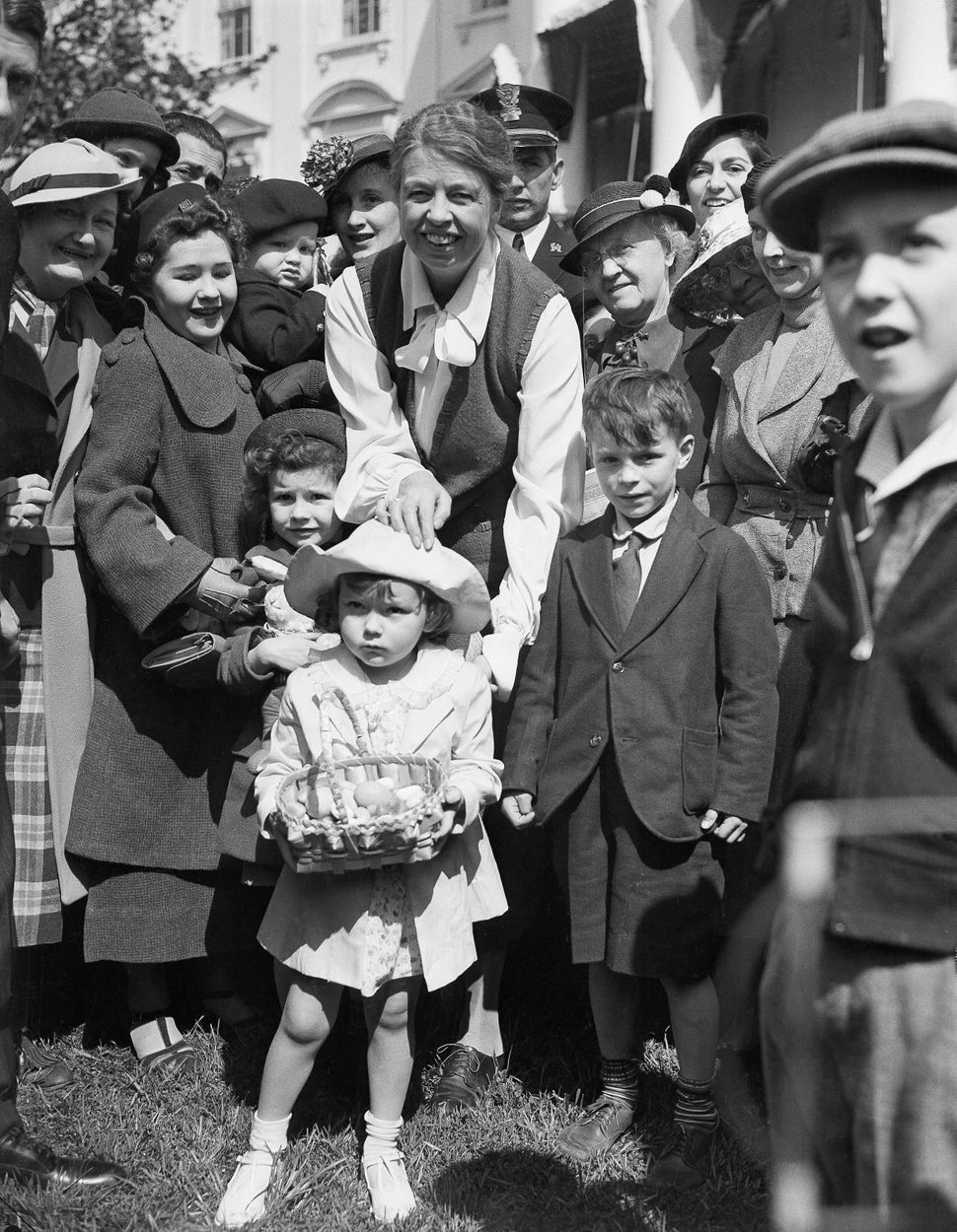 Eleanor Roosevelt greets children at the White House Easter Egg Roll in 1936. This year, more than 35,000 people are expected