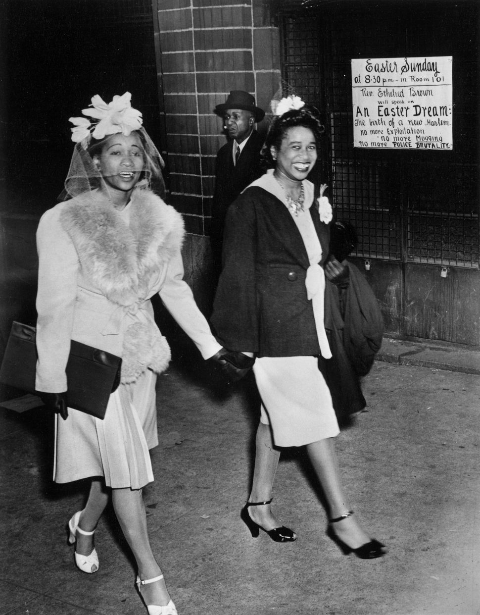 Two women leaving church in Harlem on Easter Sunday in 1943, wearing their Sunday best.