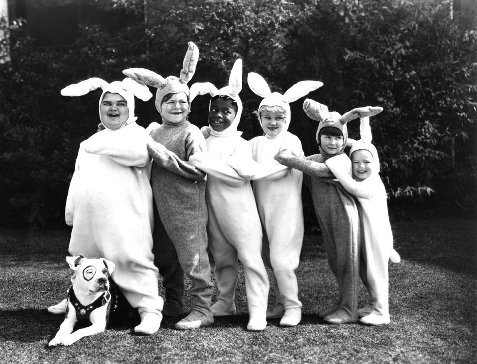 """Stars of the """"Our Gang"""" series dressed up for Easter."""