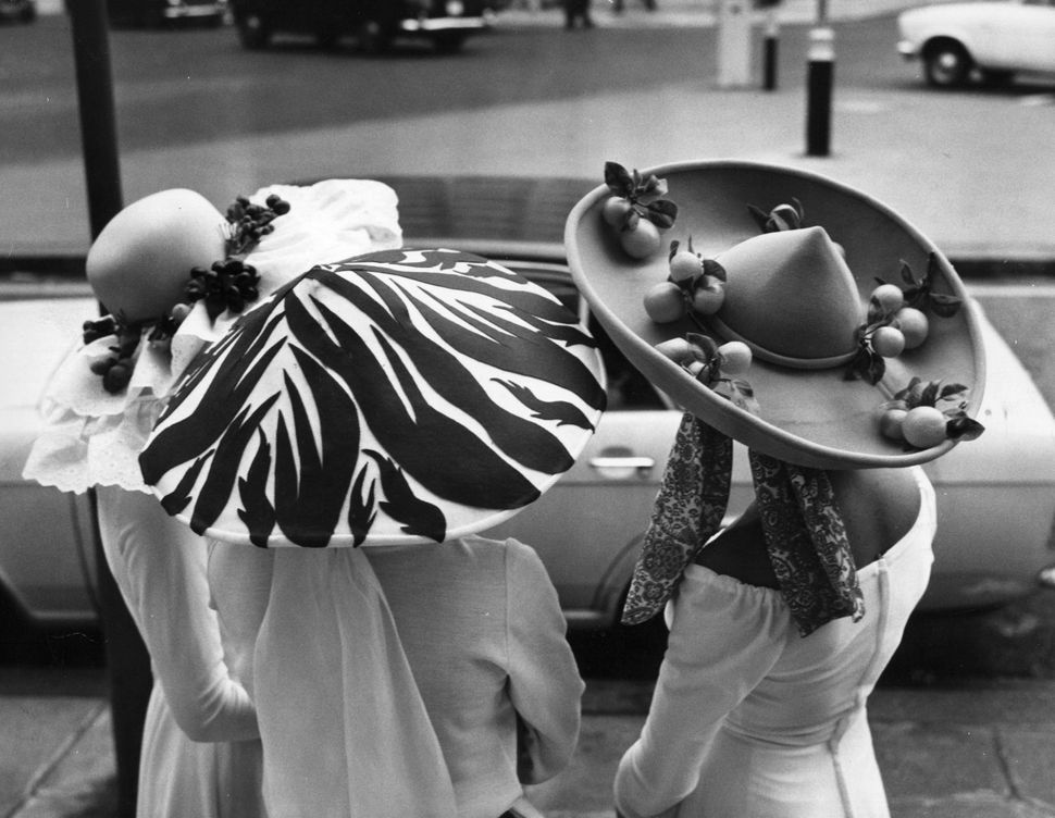 Women decked out in their Easter bonnets, in 1971.