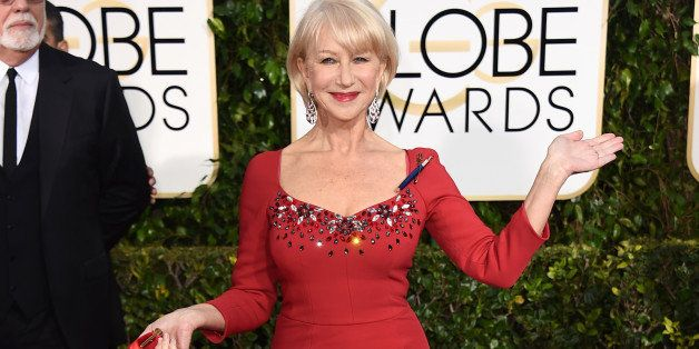 Helen Mirren arrives at the 72nd annual Golden Globe Awards at the Beverly Hilton Hotel on Sunday, Jan. 11, 2015, in Beverly