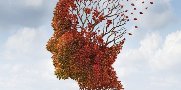 Brain disease with memory loss due to Dementia and Alzheimer's illness with the medical icon of an autumn season color tree i