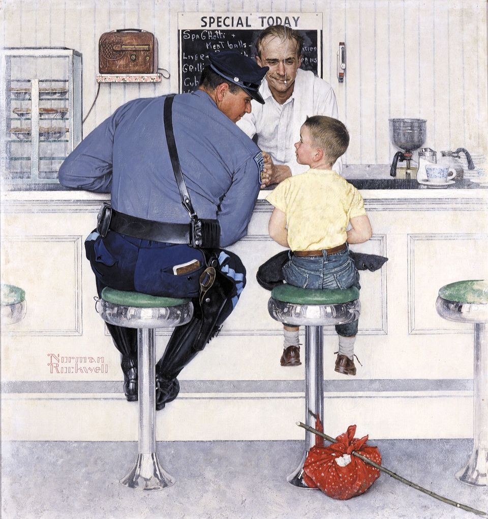 "The Runaway, Norman Rockwell, 1958. Oil on canvas, 35 3/4"" x 33 1/2'"" Cover illustration for The Saturday Evening Post, Septe"