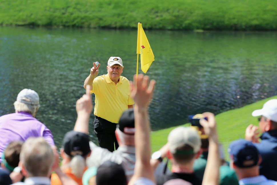 "<a href=""https://www.huffpost.com/entry/jack-nicklaus-hole-in-one_n_7028422"" target=""_blank"">Jack Nicklaus, 75, </a>celebrate"