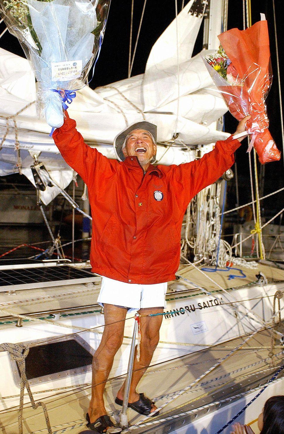 "Now 81, Japanese sailor<a href=""http://www.telegraph.co.uk/news/worldnews/asia/japan/8771085/Worlds-oldest-sailor-arrives-hom"