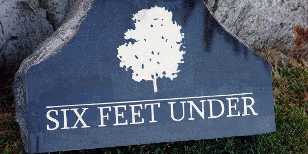 HOLLYWOOD, CA - AUGUST 21:  'Six Feet Under' tombstone on display at ACLU/SC And West Hollywood Councilman Present 'Six Feet