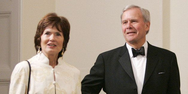 Tom Brokaw and his wife Meredith arrive for a social dinner in honor of Britain's Prince Charles and his wife Camilla, Duches