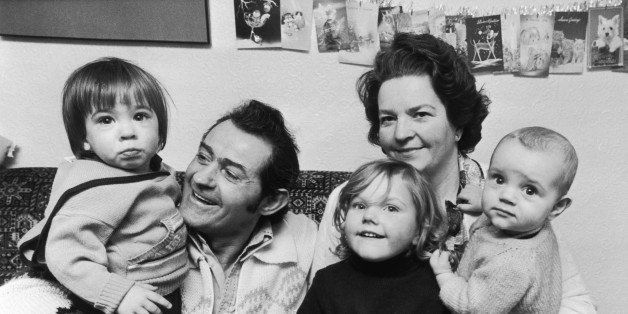 Archie Croll with his wife Caroline and their grandchildren (from left to right) Barrie Bruce, Rebecca Tucker and Anshollo Tu