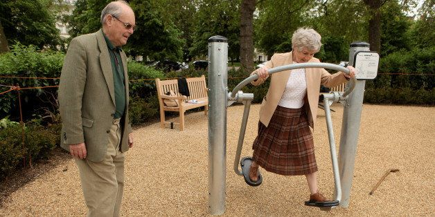 LONDON, ENGLAND - MAY 19:  Pensioners exercise in London's first purpose built 'Senior Playground' in Hyde Park on May 19, 20