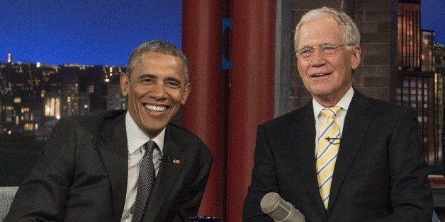 US President Barack Obama tapes an appearance on the 'Late Show with David Letterman' in New York on May 4, 2015.   AFP PHOTO