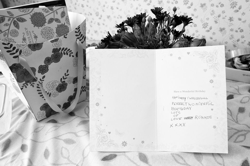 A birthday card Ronnie wrote for Winnie in February 2014.