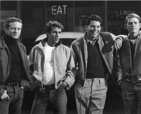 "The ""Happy Days"" gang (L-R): Ralph Malph (Don Most); Fonzie (Henry Winkler); Potsie (Anson Williams); Richie (Ron Howard)"