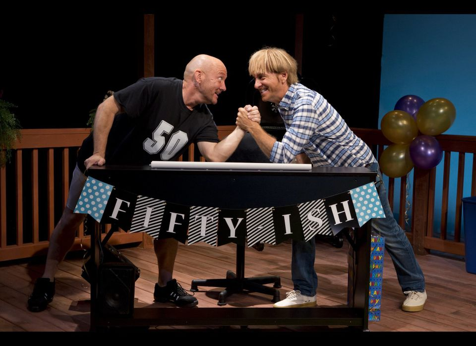 "Lynn Shore (L) and Mark Vogel (R) star in the new musical ""Happy 50ish"" at the Beckett Theatre on Theatre Row (410 W. 42nd St"