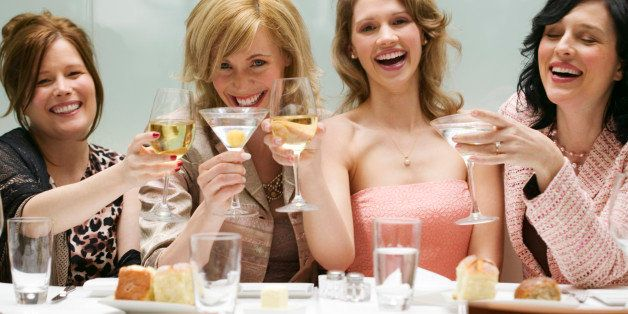 Women toasting in a restaurant
