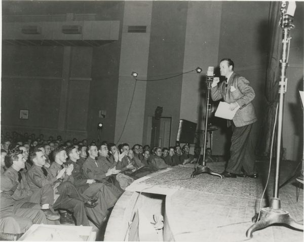 During the USO's inaugural year, Bob Hope participated in numerous USO Camp Shows like this 1942 stateside performance for se