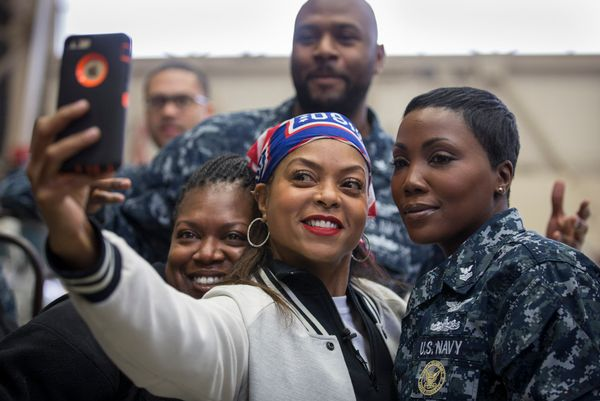 "Actress Taraji P. Henson of Twentieth Century FOX's hit show ""Empire"" takes time out of her USO tour to Japan to show some lo"