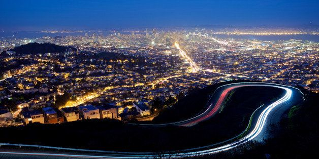 San Francisco cityscape and city lights at night