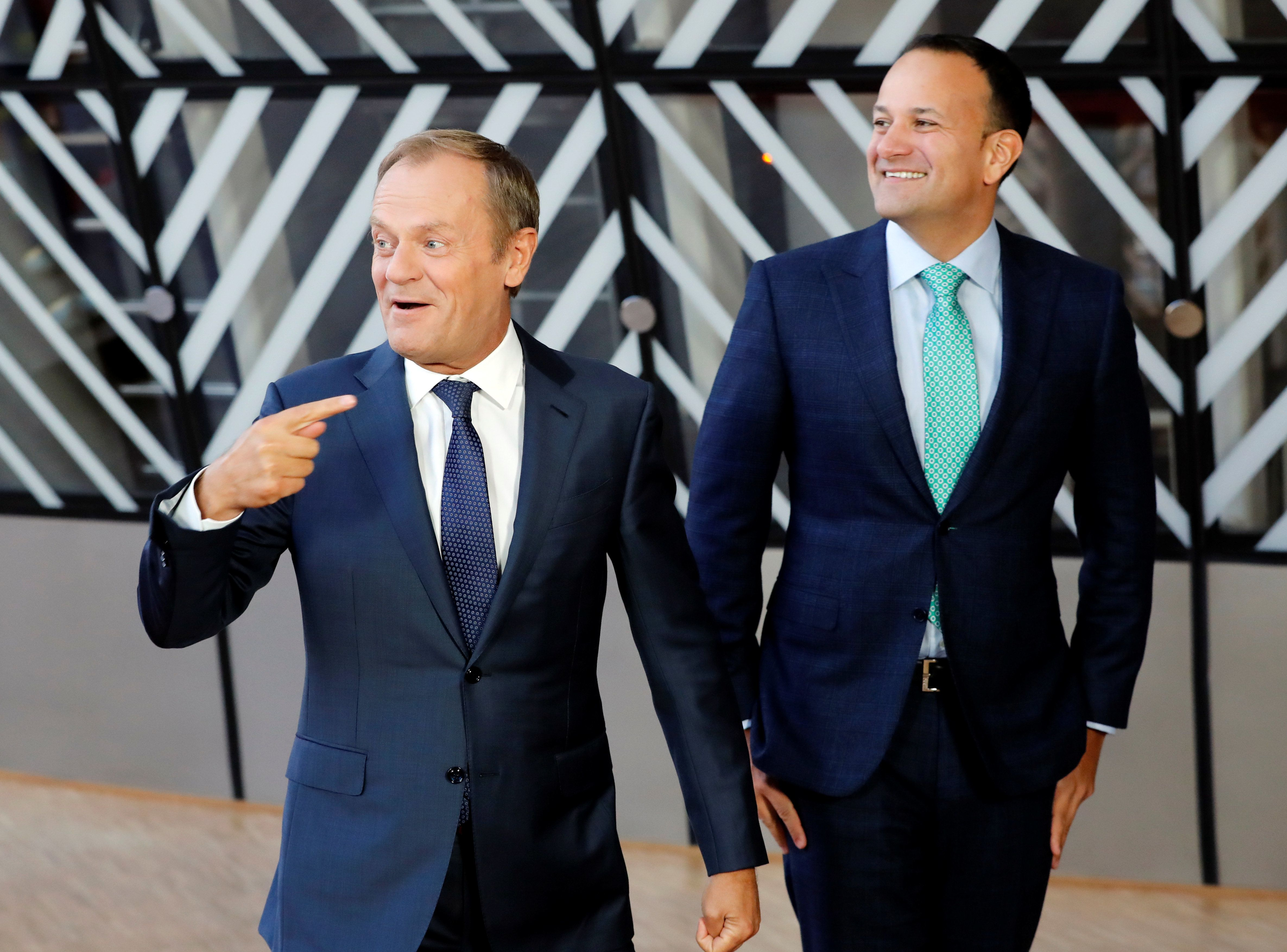 Ireland's Prime Minister Leo Varadkar is welcomed by European Council President Donald Tusk ahead of...