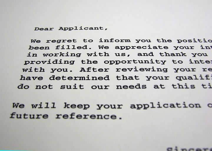 A rejection letter in Courier type.