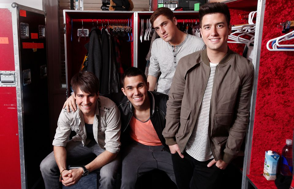 FILE - In this March 9, 2012 file image, the boy band Big Time Rush, from left, James Maslow, Carlos Pena Jr., Kendall Schmid