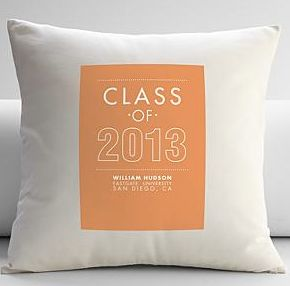 "Class of 2013 throw pillow, $59.95, <a href=""http://gifts.redenvelope.com/gifts/personalized-class-of-2013-throw-pillow-cover"