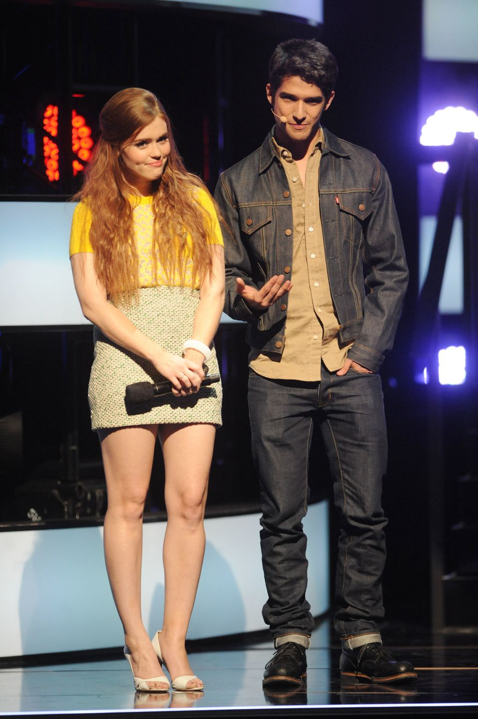 """IMAGE DISTRIBUTED FOR MTV - From left, Holland Roden and Tyler Posey introduce """"Teen Wolf"""" at the 2013 MTV Upfront, on Thursd"""