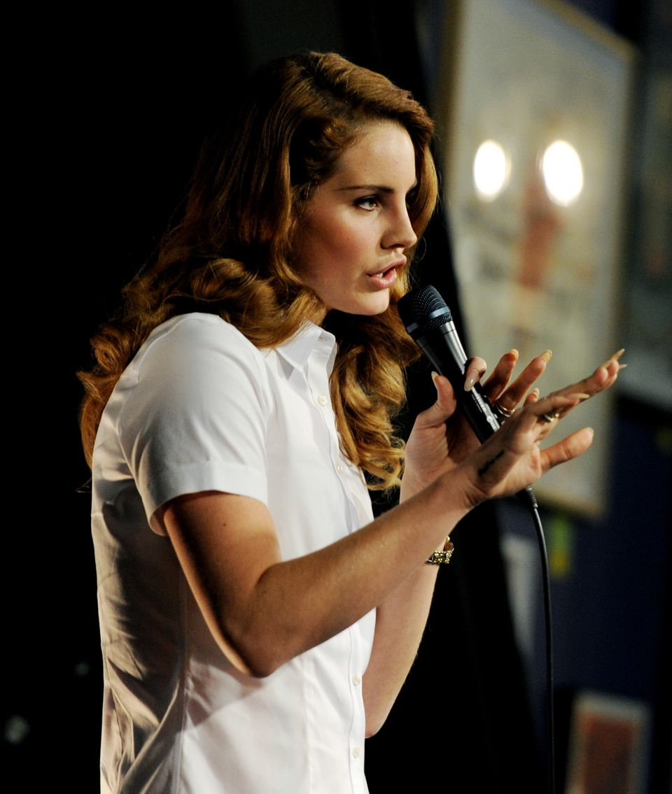 LOS ANGELES, CA - FEBRUARY 07:  Singer Lana Del Rey performs at Amoeba Music on February 7, 2012 in Los Angeles, California.