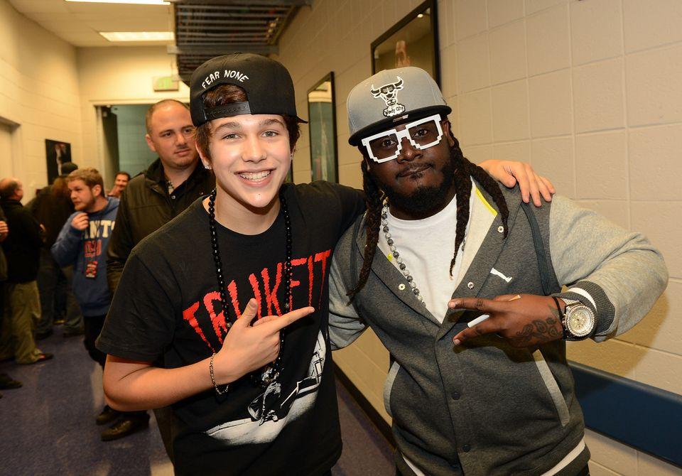 ATLANTA, GA - DECEMBER 12:  Austin Mahone and T-Pain pose backstage at Power 96.1's Jingle Ball 2012 at the Philips Arena on