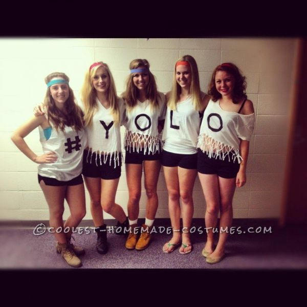 "<a href=""http://ideas.coolest-homemade-costumes.com/2013/05/27/yolo-funny-girl-group-costume/"" target=""_blank"">via Coolest Ho"