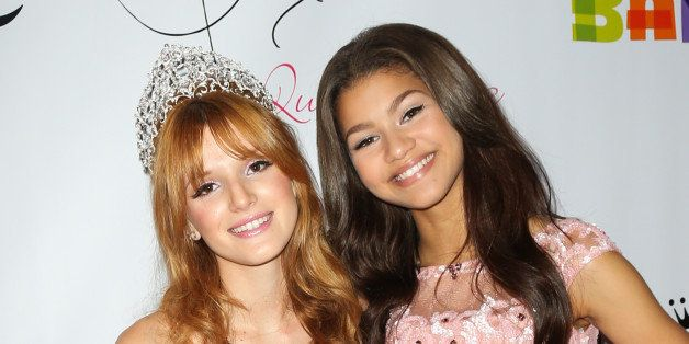 HOLLYWOOD, CA - OCTOBER 20:  Actors Bella Thorne (L) and Zendaya (R) attend Bella Thorne's Quinceanera and 15th birthday part
