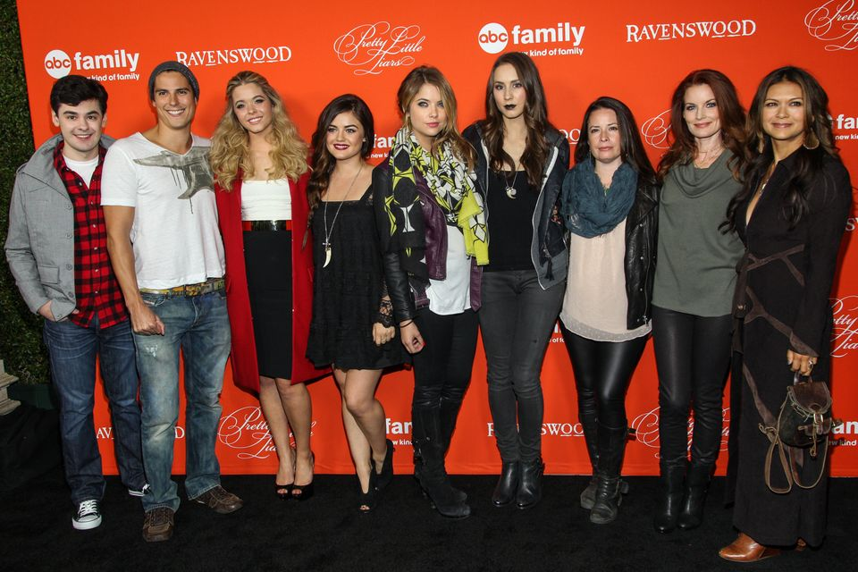 From left, actors Brendan Robinson, Sean Faris , Sasha Pieterse, Lucy Hale, Ashley Benson, Troian Bellisario, Holly Marie Com