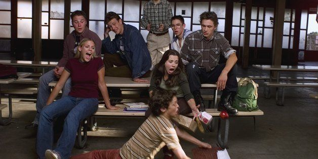FREAKS AND GEEKS -- Season 1 -- Pictured: (front) John Francis Daley as Sam Weir (middle, l-r) Busy Philipps as Kim Kelly, Li