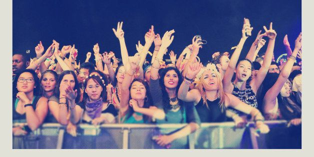 INDIO, CA - APRIL 13:  (EDITORS NOTE: Image was processed using Digital Filters) A view of the audience during day 3 of the 2
