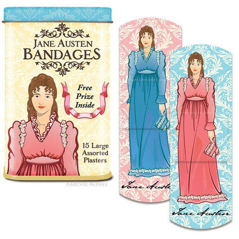 """<em><a href=""""http://www.offthewagonshop.com/collections/weird-funny-gifts/products/jane-austen-bandages"""" target=""""_hplink"""">Off"""