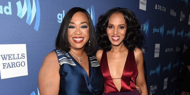BEVERLY HILLS, CA - MARCH 21: Writer Shonda Rhimes (L) and actress Kerry Washington attend the 26th Annual GLAAD Media Awards