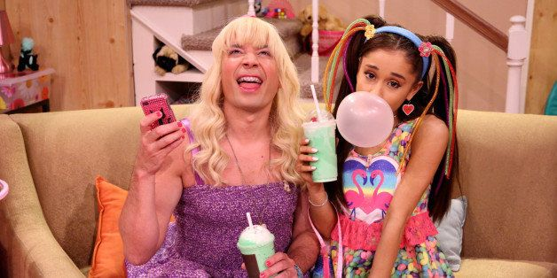 THE TONIGHT SHOW STARRING JIMMY FALLON -- Episode 0229 -- Pictured: (l-r) Host Jimmy Fallon and singer Ariana Grande during t