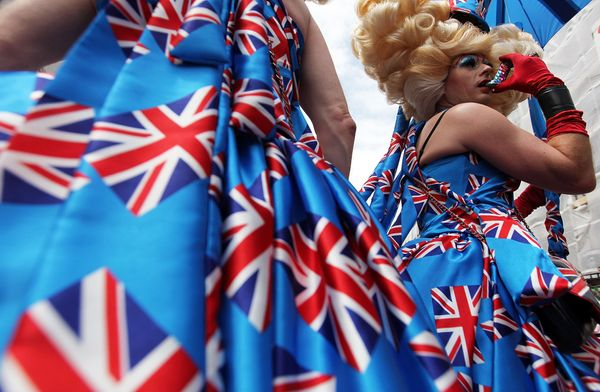 LONDON, ENGLAND - JULY 04:  People take part in the annual Gay Pride street march through central London on July 4, 2009 in L