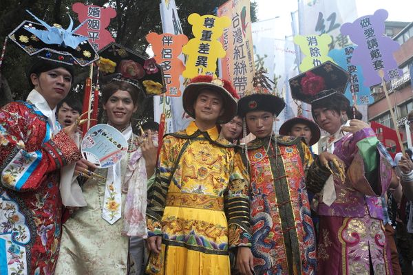 TAIPEI, TAIWAN - 2012/10/27: Dressed in fancy costumes reminiscent of ancient China, participants at the Taipei Gay Pride Par