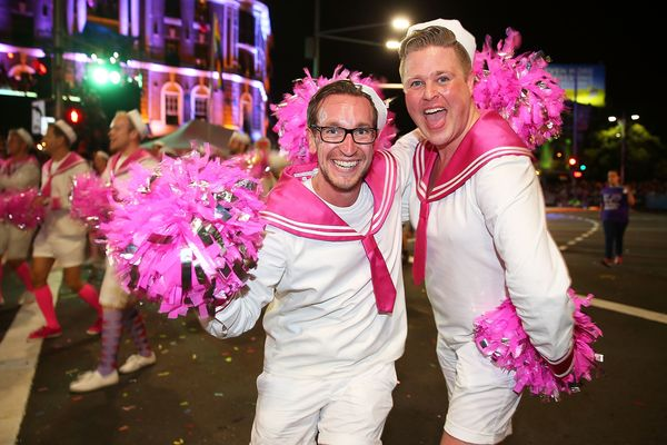 SYDNEY, AUSTRALIA - MARCH 01:  Parade goers march during the 2014 Sydney Gay & Lesbian Mardi Gras Parade on March 1, 2014 in