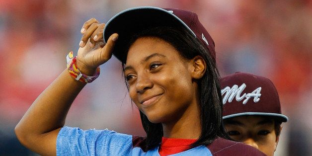 PHILADELPHIA, PA - AUGUST 27: Taney Dragons Pitcher Mo'ne Davis tips her hat as she is introduced and recognized before the g