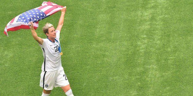The USA's Abby Wambach celebrates after defeating Japan in the 2015 FIFA Women's World Cup final at BC Place Stadium in Vanco