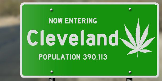 Illustration showing 'now entering Cleveland (Ohio)' highway sign with marijuana leaf highlighting issues with driving and dr