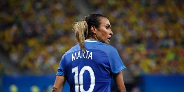 Brazil's player Marta is seen during the Olympic Games Rio 2016 women's first round Group E football match between South Afri