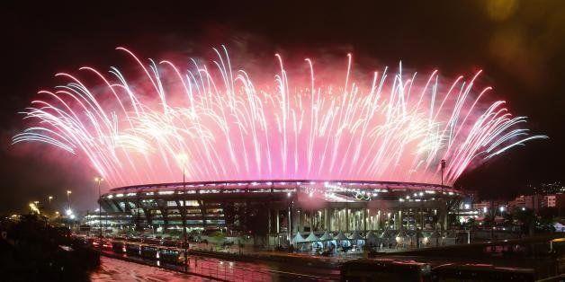 2016 Rio Olympics - Closing ceremony - Maracana - Rio de Janeiro, Brazil - 21/08/2016. Fireworks explode during the closing c
