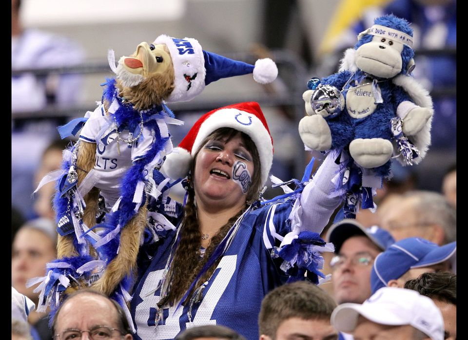 A Indianapolis Colts fans shows her support during the NFL against  the Houston Texans at Lucas Oil Stadium on December 22, 2