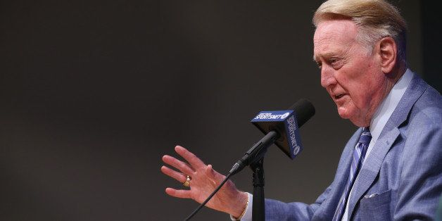 LOS ANGELES, CALIFORNIA - SEPTEMBER 24:  Long time Los Angeles Dodgers announcer Vin Scully speaks at a press conference disc