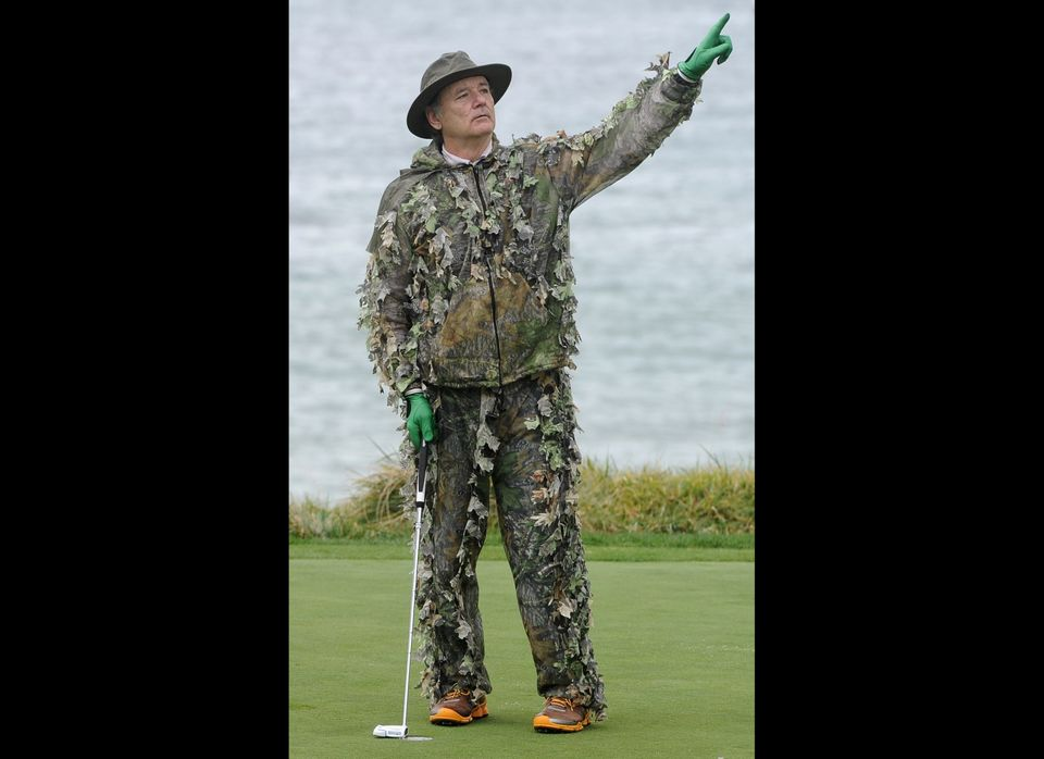 PEBBLE BEACH, CA - FEBRUARY 11: Actor Bill Murray reacts to his missed putt on the fifth hole during the third round of the A
